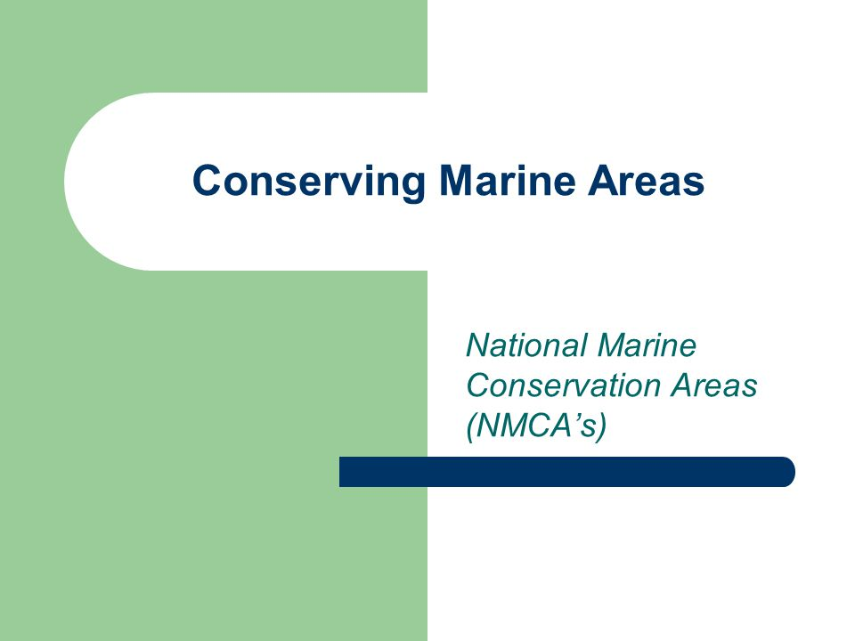 Conserving Marine Areas National Marine Conservation Areas (NMCA's)