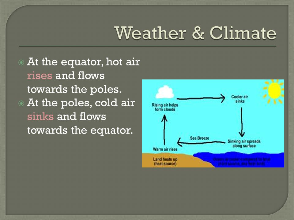  At the equator, hot air rises and flows towards the poles.