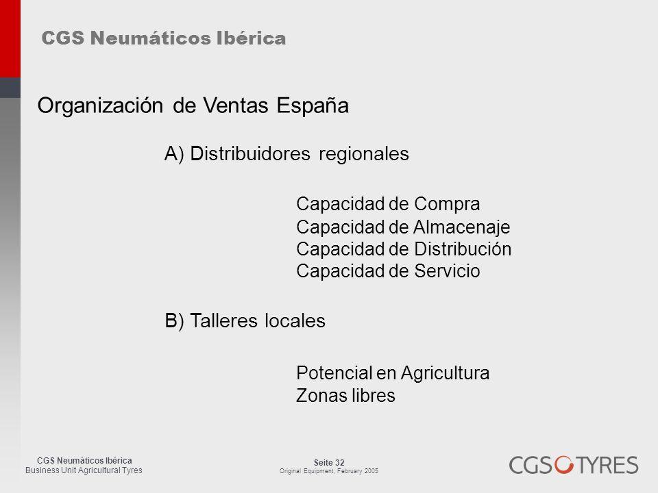 CGS Neumáticos Ibérica Business Unit Agricultural Tyres Seite 32 Original Equipment, February 2005 A) Distribuidores regionales Capacidad de Compra Ca