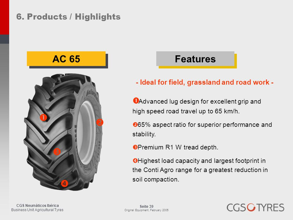 CGS Neumáticos Ibérica Business Unit Agricultural Tyres Seite 39 Original Equipment, February 2005 AC 65  Advanced lug design for excellent grip and high speed road travel up to 65 km/h.