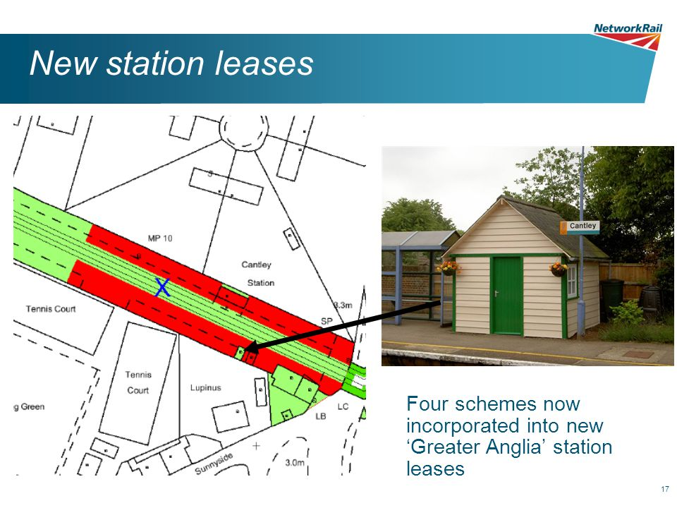17 New station leases Four schemes now incorporated into new 'Greater Anglia' station leases