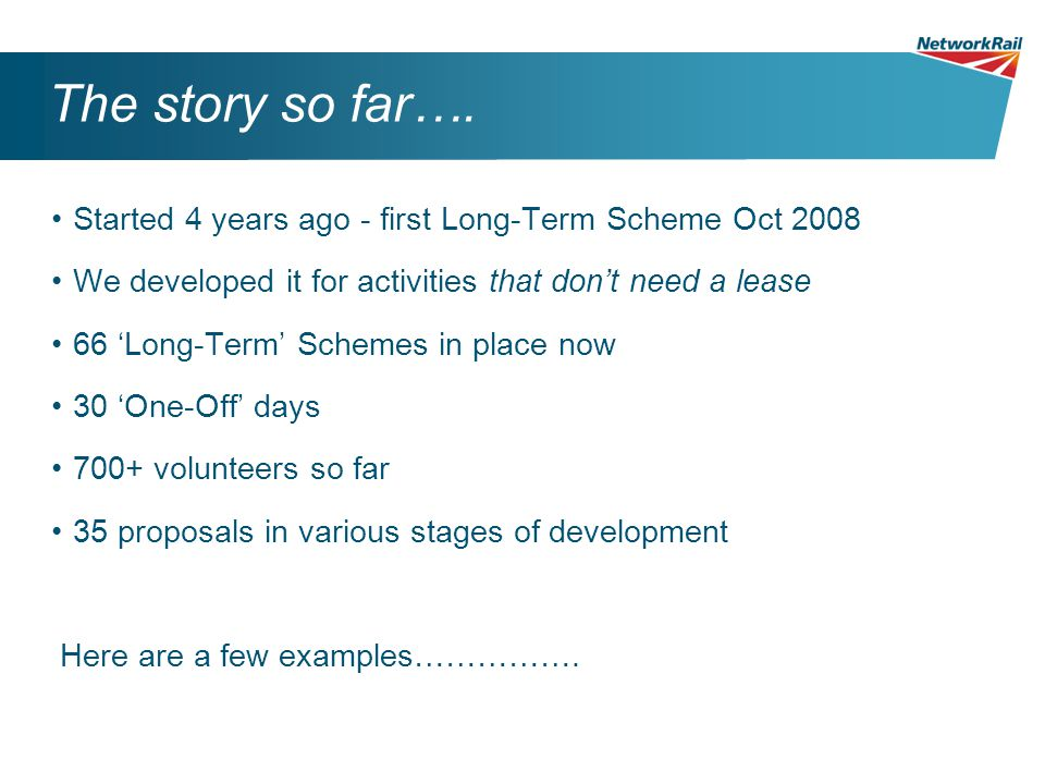 The story so far…. Started 4 years ago - first Long-Term Scheme Oct 2008 We developed it for activities that don't need a lease 66 'Long-Term' Schemes
