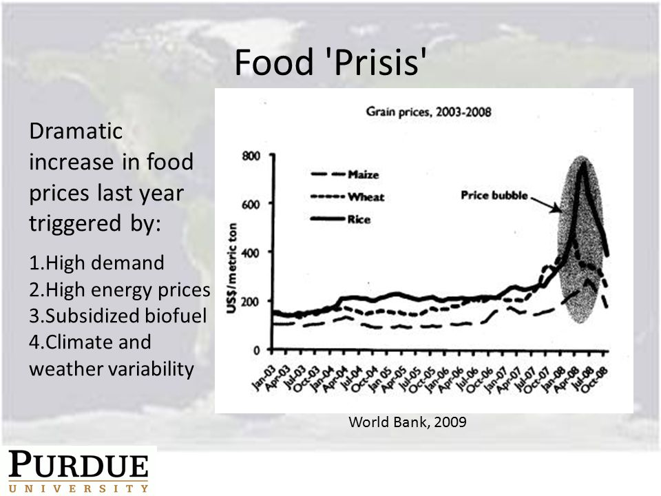 Food Prisis Dramatic increase in food prices last year triggered by: 1.High demand 2.High energy prices 3.Subsidized biofuel 4.Climate and weather variability World Bank, 2009
