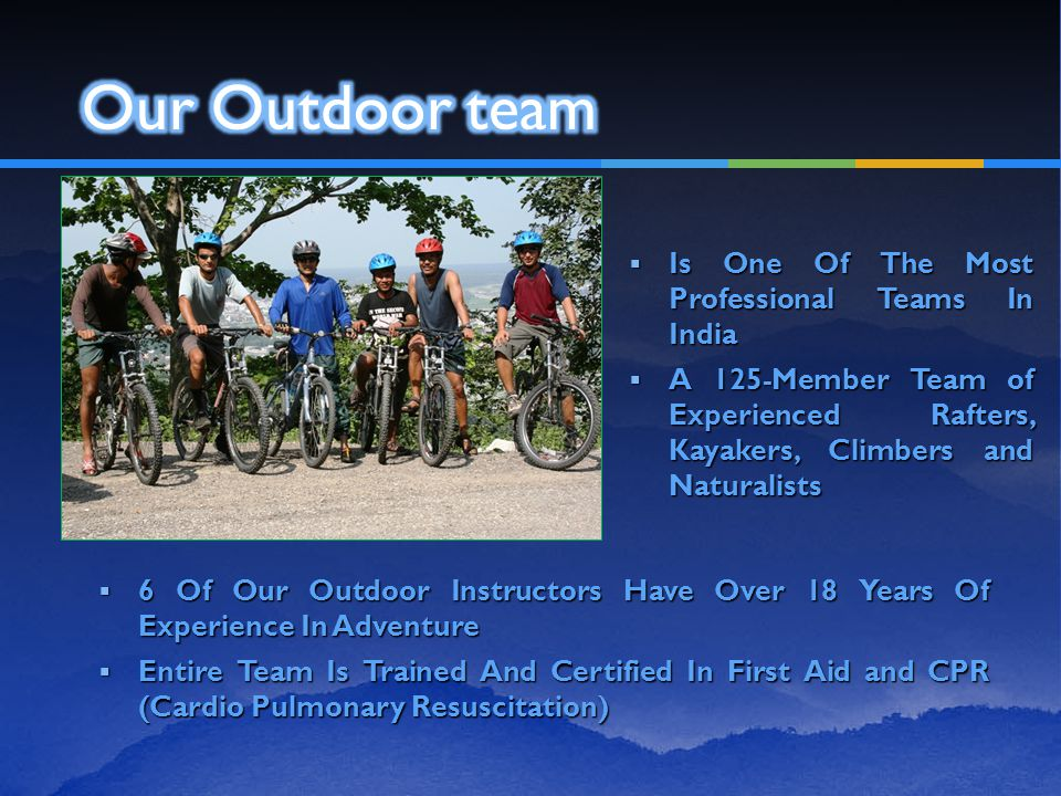  Is One Of The Most Professional Teams In India  A 125-Member Team of Experienced Rafters, Kayakers, Climbers and Naturalists  6 Of Our Outdoor Ins