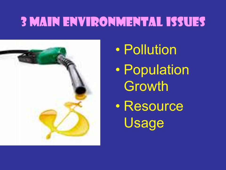 3 Main Environmental Issues Pollution Population Growth Resource Usage