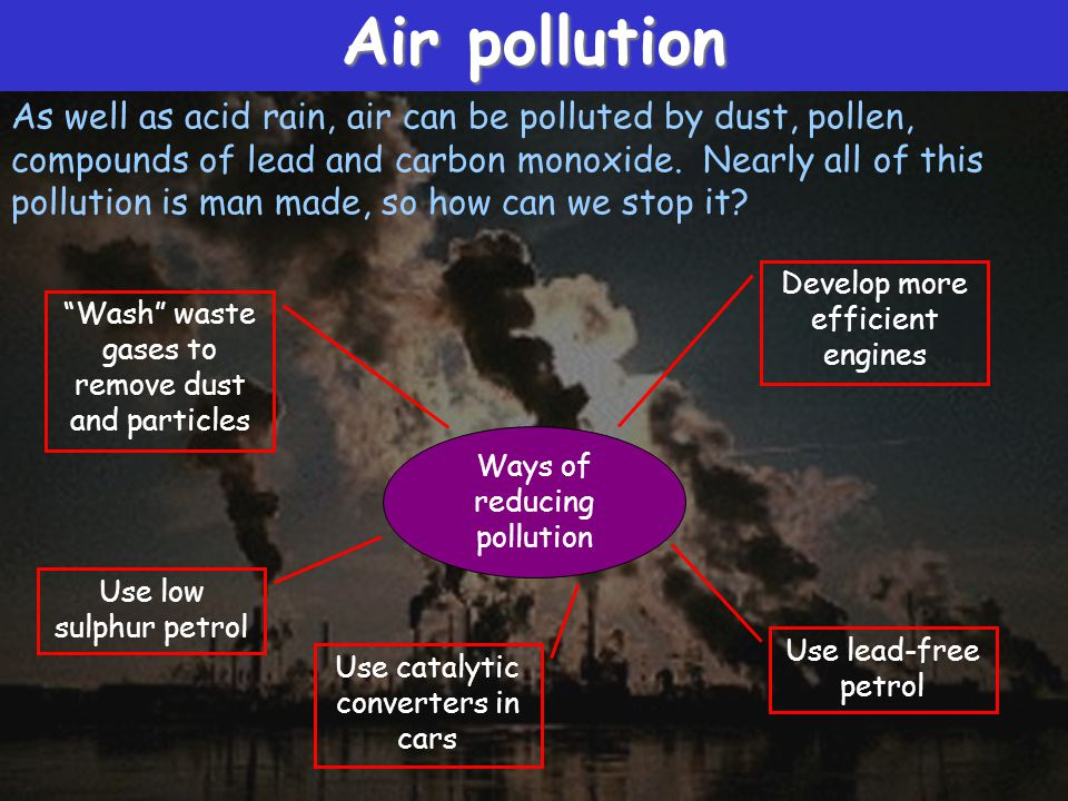 Air pollution As well as acid rain, air can be polluted by dust, pollen, compounds of lead and carbon monoxide.