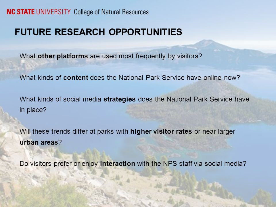 FUTURE RESEARCH OPPORTUNITIES What other platforms are used most frequently by visitors.