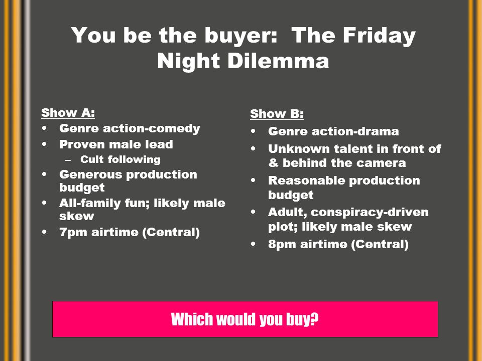 You be the buyer: The Friday Night Dilemma Show A: Genre action-comedy Proven male lead –Cult following Generous production budget All-family fun; likely male skew 7pm airtime (Central) Show B: Genre action-drama Unknown talent in front of & behind the camera Reasonable production budget Adult, conspiracy-driven plot; likely male skew 8pm airtime (Central) Which would you buy