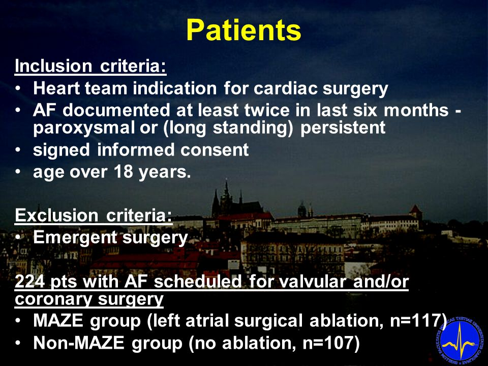 Patients Inclusion criteria: Heart team indication for cardiac surgery AF documented at least twice in last six months - paroxysmal or (long standing) persistent signed informed consent age over 18 years.
