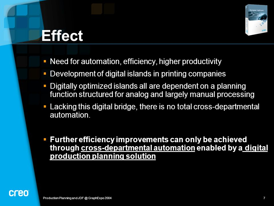 Production Planning and JDF @ GraphExpo 20047 Effect  Need for automation, efficiency, higher productivity  Development of digital islands in printing companies  Digitally optimized islands all are dependent on a planning function structured for analog and largely manual processing  Lacking this digital bridge, there is no total cross-departmental automation.