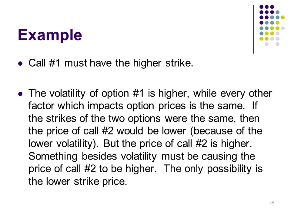 29 Example Call #1 must have the higher strike.