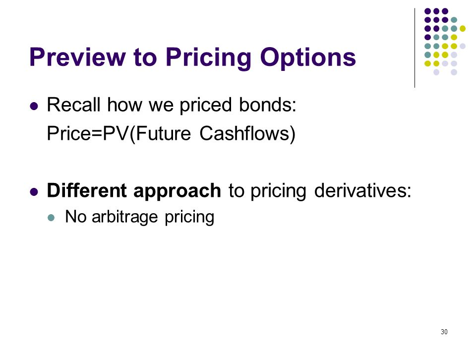 30 Preview to Pricing Options Recall how we priced bonds: Price=PV(Future Cashflows) Different approach to pricing derivatives: No arbitrage pricing