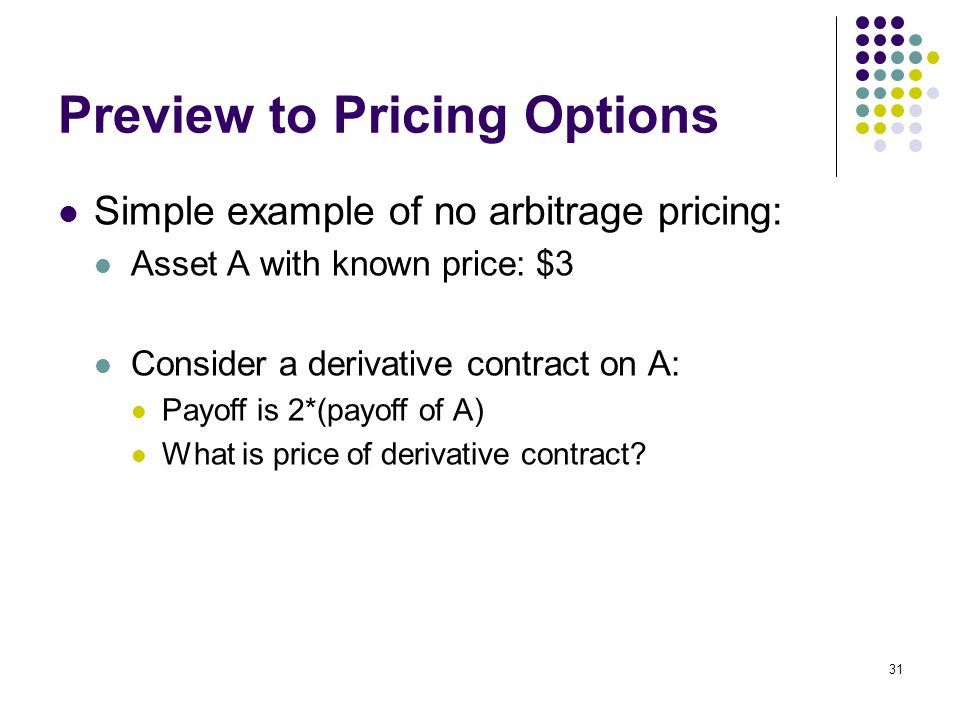 31 Preview to Pricing Options Simple example of no arbitrage pricing: Asset A with known price: $3 Consider a derivative contract on A: Payoff is 2*(payoff of A) What is price of derivative contract