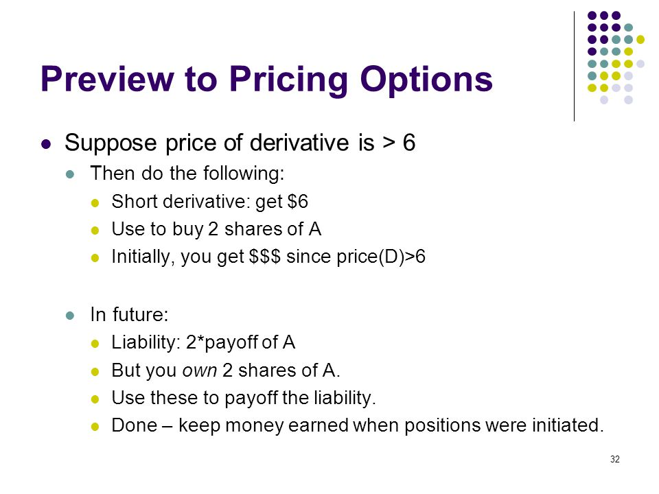 32 Preview to Pricing Options Suppose price of derivative is > 6 Then do the following: Short derivative: get $6 Use to buy 2 shares of A Initially, you get $$$ since price(D)>6 In future: Liability: 2*payoff of A But you own 2 shares of A.