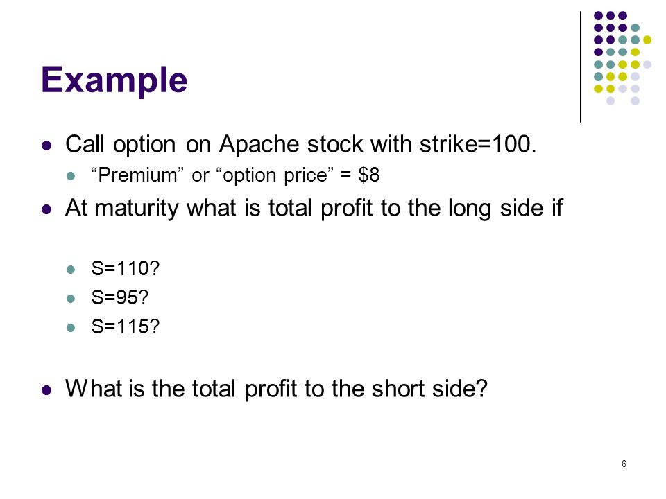 6 Example Call option on Apache stock with strike=100.