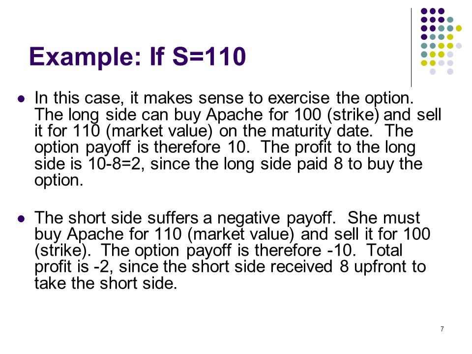 7 Example: If S=110 In this case, it makes sense to exercise the option.