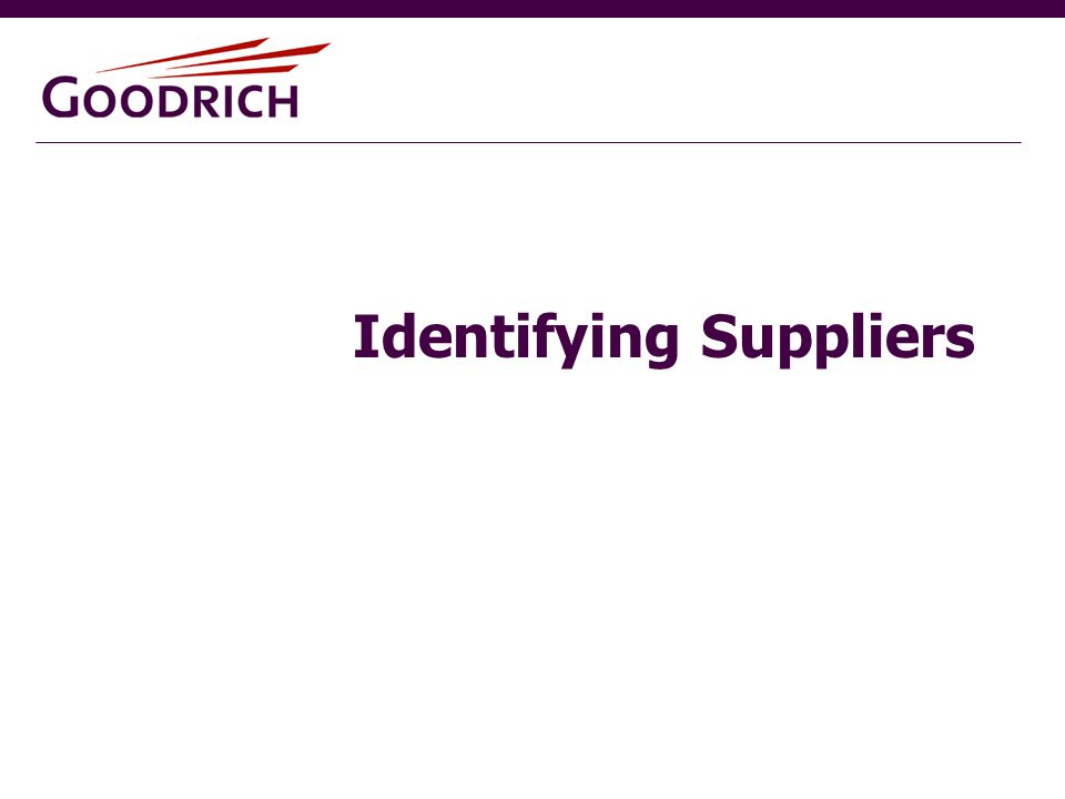Identifying Suppliers