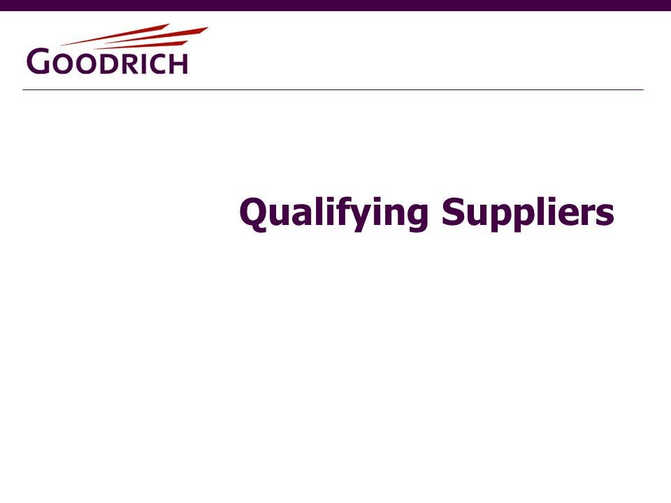 Qualifying Suppliers