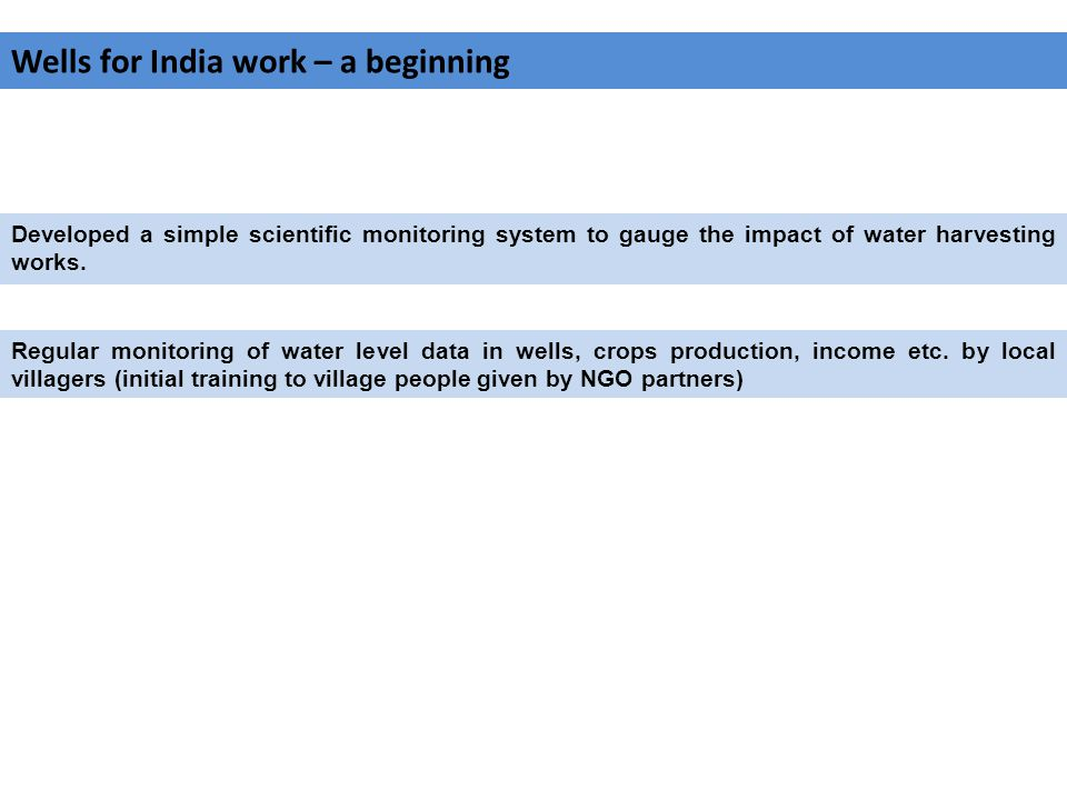 Wells for India work – a beginning Developed a simple scientific monitoring system to gauge the impact of water harvesting works.
