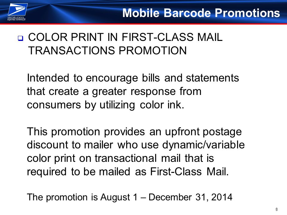 9 Mobile Barcode Promotions  MAIL DRIVES MOBILE COMMERCE PROMOTION Encourages marketers and retailers to utilize mobile purchasing technology with direct mail and catalogs to facilitate state of the art mobile purchases.