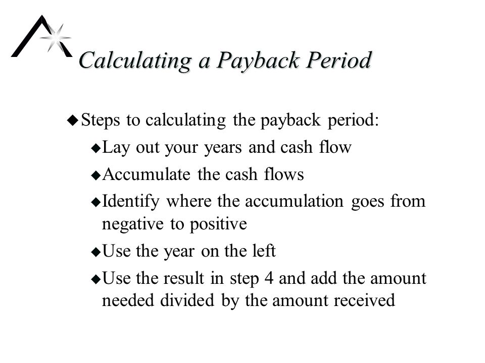Calculating a Payback Period u Steps to calculating the payback period: u Lay out your years and cash flow u Accumulate the cash flows u Identify where the accumulation goes from negative to positive u Use the year on the left u Use the result in step 4 and add the amount needed divided by the amount received