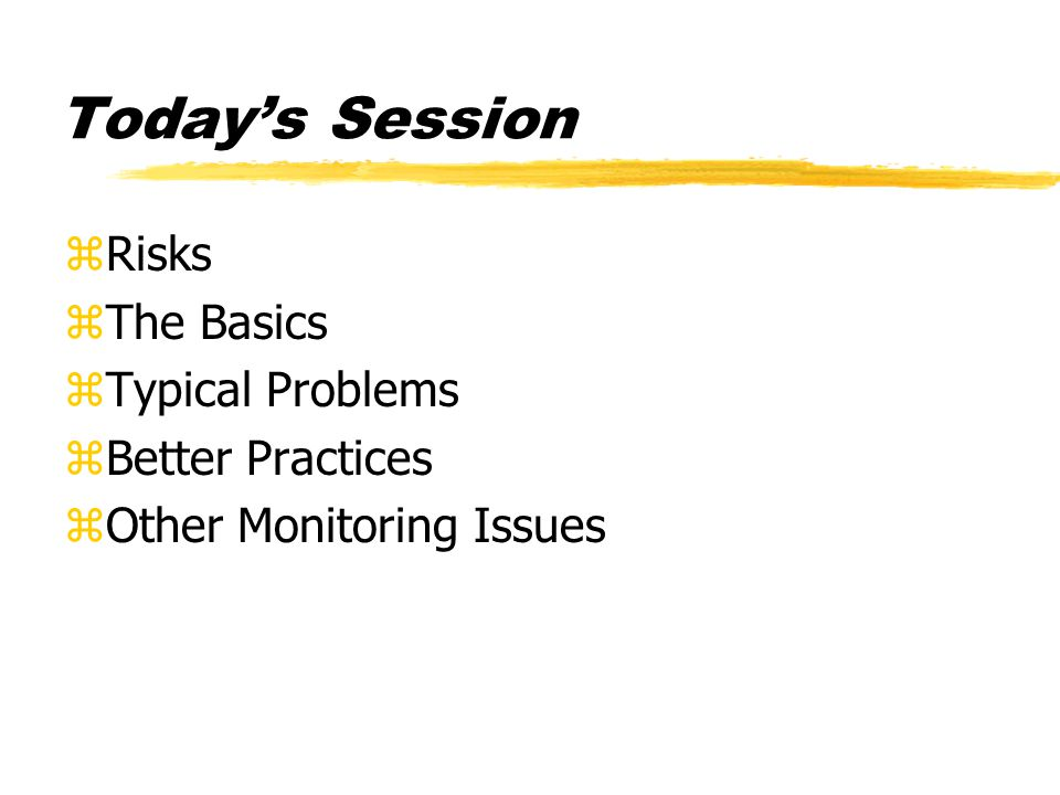 Today's Session zRisks zThe Basics zTypical Problems zBetter Practices zOther Monitoring Issues