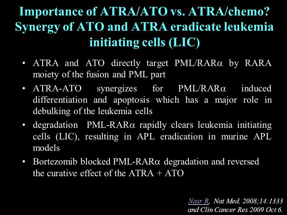 Importance of ATRA/ATO vs. ATRA/chemo.