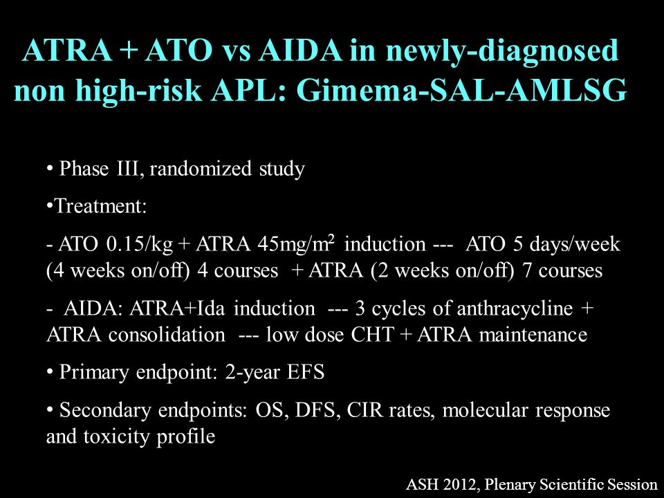 ATRA + ATO vs AIDA in newly-diagnosed non high-risk APL: Gimema-SAL-AMLSG ASH 2012, Plenary Scientific Session Phase III, randomized study Treatment: - ATO 0.15/kg + ATRA 45mg/m 2 induction --- ATO 5 days/week (4 weeks on/off) 4 courses + ATRA (2 weeks on/off) 7 courses - AIDA: ATRA+Ida induction --- 3 cycles of anthracycline + ATRA consolidation --- low dose CHT + ATRA maintenance Primary endpoint: 2-year EFS Secondary endpoints: OS, DFS, CIR rates, molecular response and toxicity profile