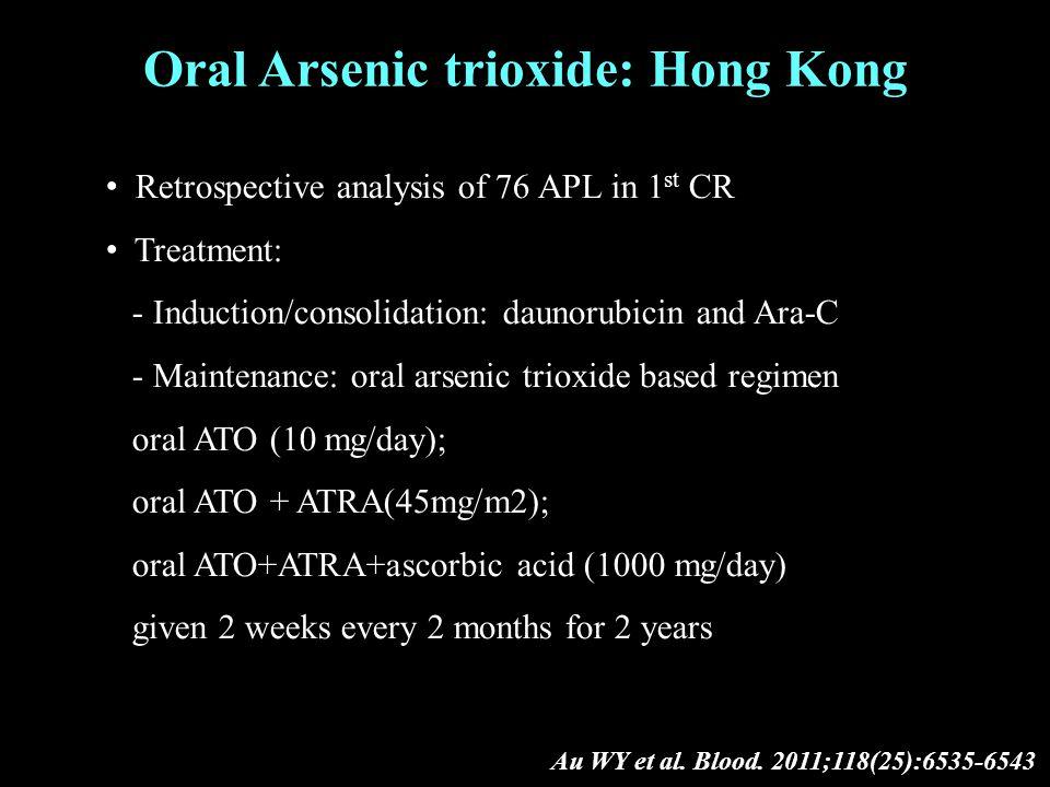 Oral Arsenic trioxide: Hong Kong Au WY et al. Blood.