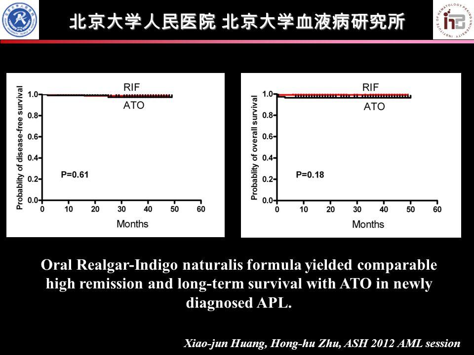 北京大学人民医院 北京大学血液病研究所 Xiao-jun Huang, Hong-hu Zhu, ASH 2012 AML session Oral Realgar-Indigo naturalis formula yielded comparable high remission and long-term survival with ATO in newly diagnosed APL.