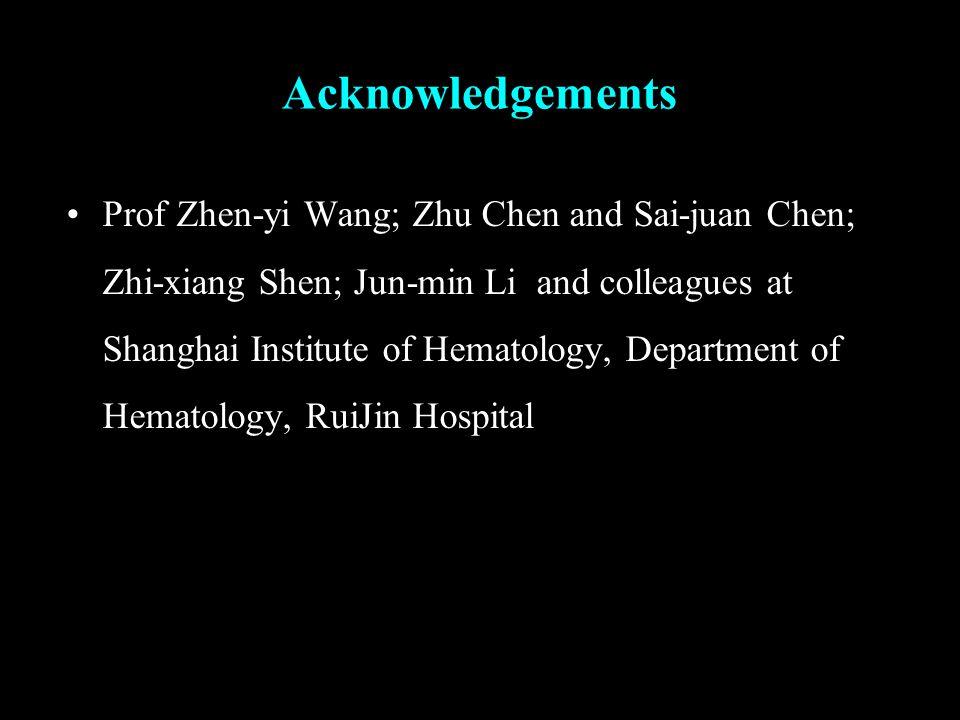 Acknowledgements Prof Zhen-yi Wang; Zhu Chen and Sai-juan Chen; Zhi-xiang Shen; Jun-min Li and colleagues at Shanghai Institute of Hematology, Department of Hematology, RuiJin Hospital