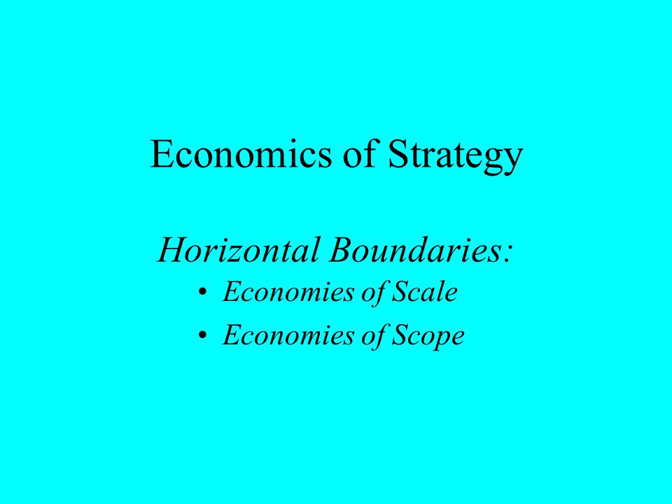 Economics of Strategy Horizontal Boundaries: Economies of Scale Economies of Scope
