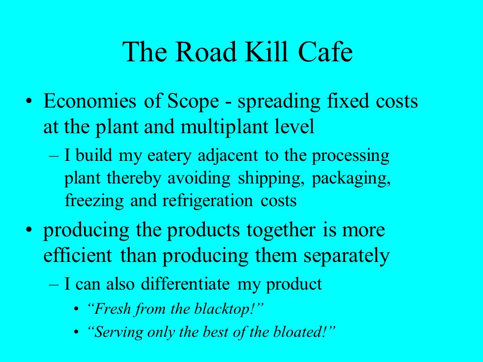 The Road Kill Cafe Economies of Scope - spreading fixed costs at the plant and multiplant level –I build my eatery adjacent to the processing plant th