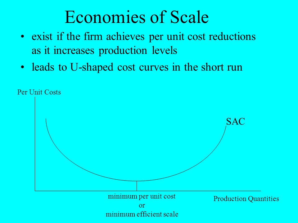 Economies of Scale exist if the firm achieves per unit cost reductions as it increases production levels leads to U-shaped cost curves in the short ru