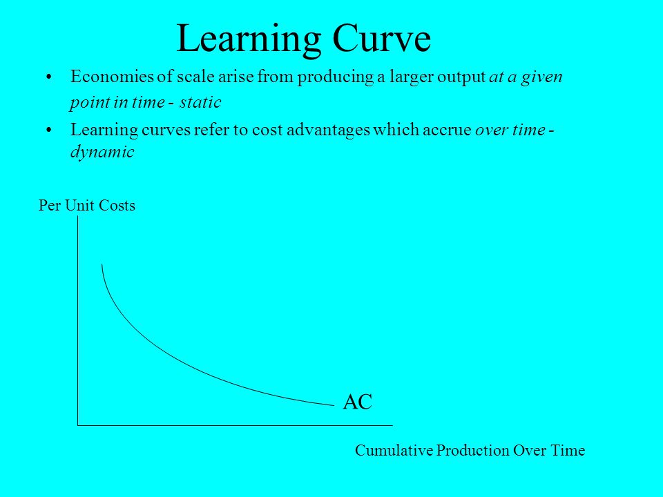 Learning Curve Economies of scale arise from producing a larger output at a given point in time - static Learning curves refer to cost advantages whic