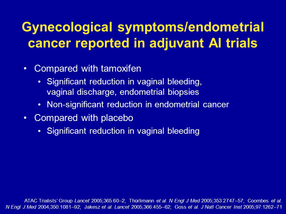 Thromboembolic (TE) events reported in adjuvant AI trials Compared with tamoxifen Significant reduction in TE events including venous TE, deep venous TE and SAEs Compared with placebo No difference in incidences of TE events or stroke/transient ischemic attack ATAC Trialists' Group Lancet 2005;365:60–2; Thürlimann et al.