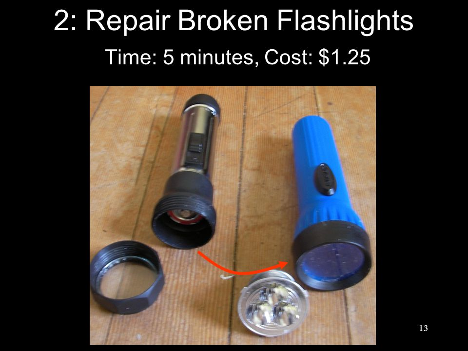 13 2: Repair Broken Flashlights Time: 5 minutes, Cost: $1.25