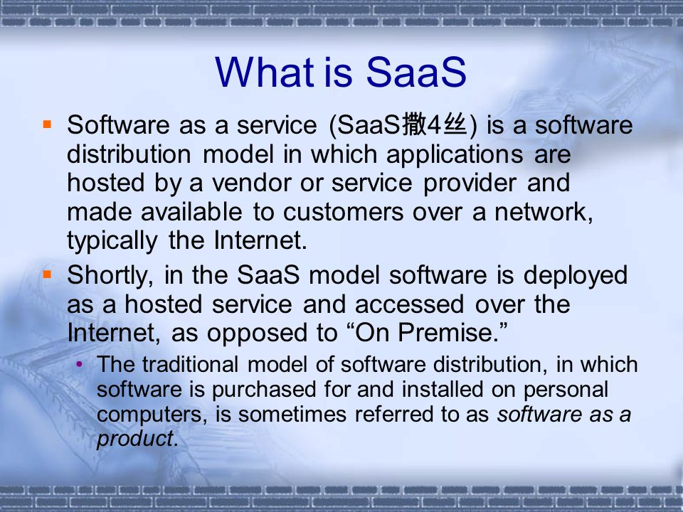 What is SaaS  Software as a service (SaaS 撒 4 丝 ) is a software distribution model in which applications are hosted by a vendor or service provider a