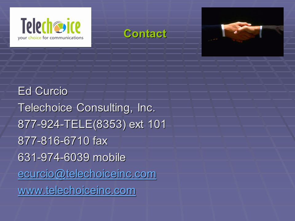 Contact Ed Curcio Telechoice Consulting, Inc.