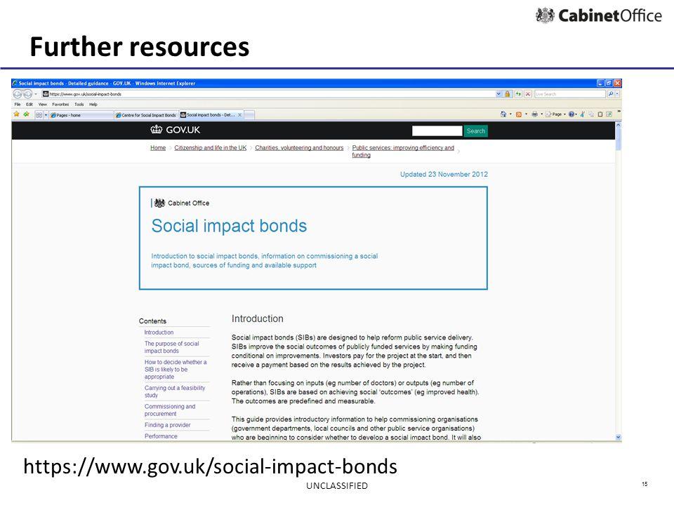 15 Further resources https://www.gov.uk/social-impact-bonds UNCLASSIFIED