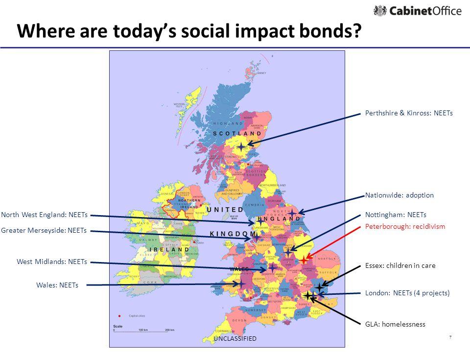 7 Peterborough: recidivism Essex: children in care GLA: homelessness Where are today's social impact bonds.