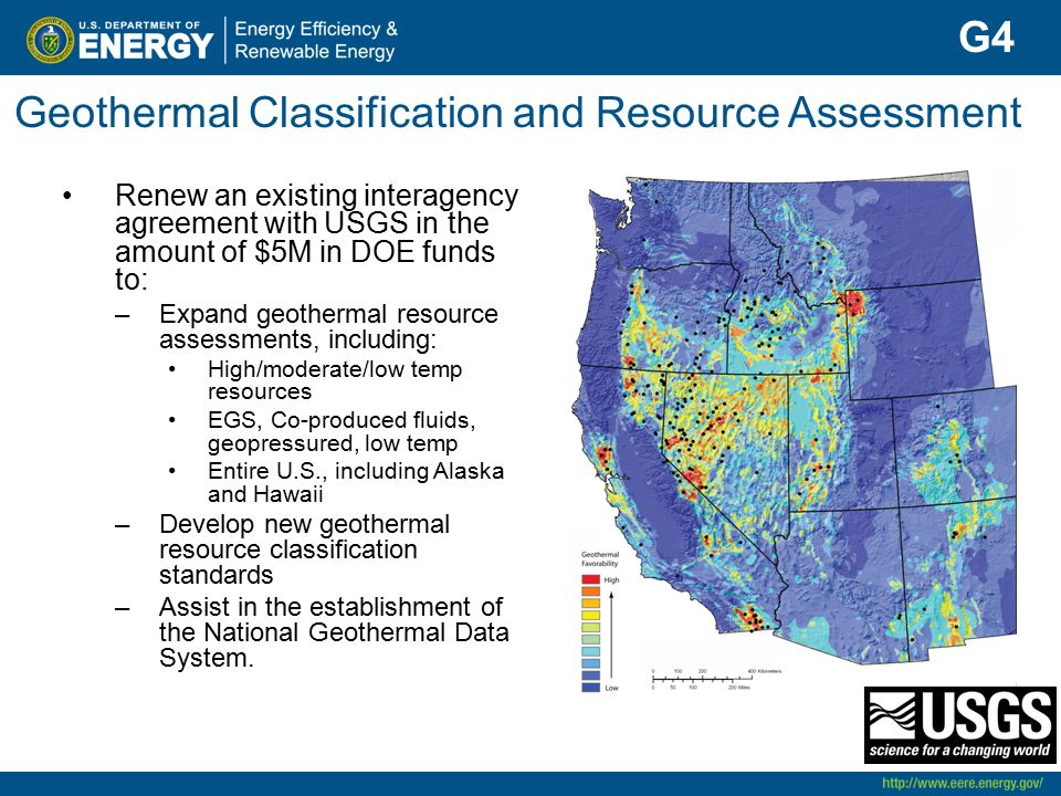 Geothermal Classification and Resource Assessment Renew an existing interagency agreement with USGS in the amount of $5M in DOE funds to: –Expand geot