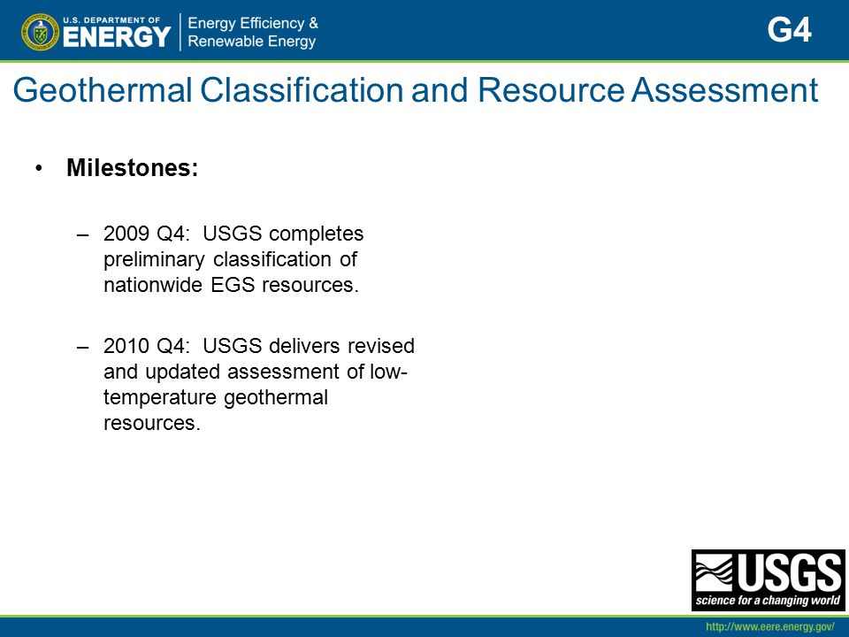 Geothermal Classification and Resource Assessment Milestones: –2009 Q4: USGS completes preliminary classification of nationwide EGS resources. –2010 Q