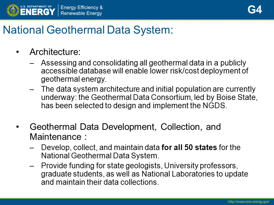 National Geothermal Data System: Architecture: –Assessing and consolidating all geothermal data in a publicly accessible database will enable lower ri