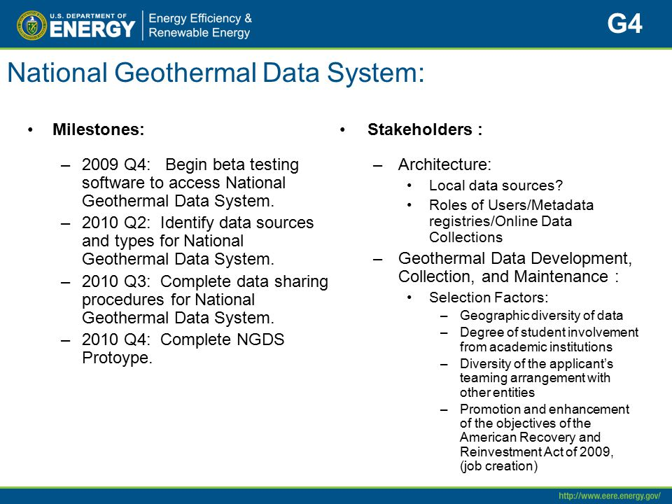 National Geothermal Data System: Milestones: –2009 Q4: Begin beta testing software to access National Geothermal Data System.