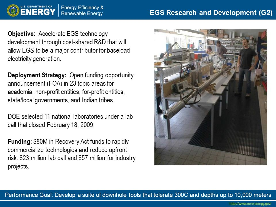EGS Research and Development (G2) Objective: Accelerate EGS technology development through cost-shared R&D that will allow EGS to be a major contributor for baseload electricity generation.