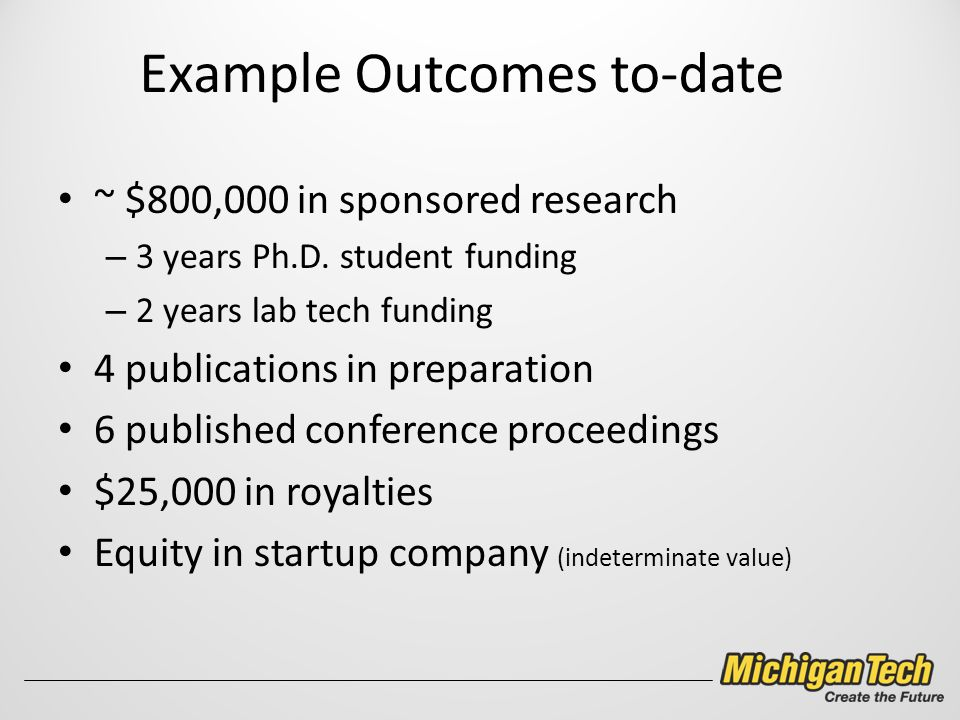 Example Outcomes to-date ~ $800,000 in sponsored research – 3 years Ph.D.