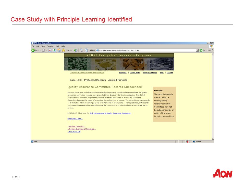 012011 Case Study with Principle Learning Identified