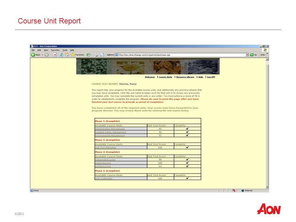 012011 Course Unit Report