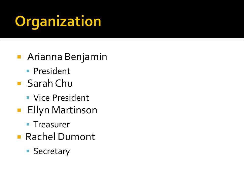  Arianna Benjamin  President  Sarah Chu  Vice President  Ellyn Martinson  Treasurer  Rachel Dumont  Secretary